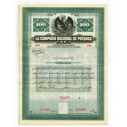 La Compania Nacional de Predios, S.A. 190x Specimen Bond.
