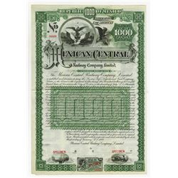 Mexican Central Railway Co., LTD, 1889 Specimen Gold Coupon Bond.