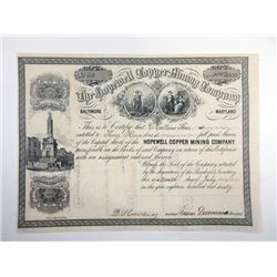 Hopewell Copper Mining Co., 1860 Issued Stock Certificate
