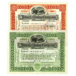 Ahmeek Mining Co., 1922/1923 Pair of Issued Stock Certificates