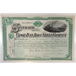 Standard Vapor Fuel Iron & Steel Co., 1884 Issued Stock Certificate