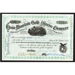 Green Mountain Gold Mining Co., 1880 Stock Certificate.
