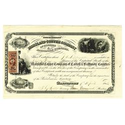 Maryland Copper Company of Carroll & Baltimore Counties, 1864 Issued Stock Certificate.
