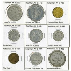 Ketchikan, Assortment of 9 Trade Tokens
