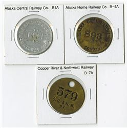 Trio of Alaskan Railway Tokens