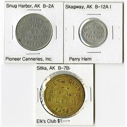 Trio of Trade Tokens from Sitka, Skagway, and Snug Harbor