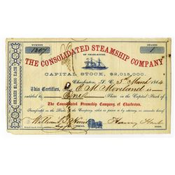 Consolidated Steamship Co. 1864 Issued Confederate Blockade Runner Stock Certificate.