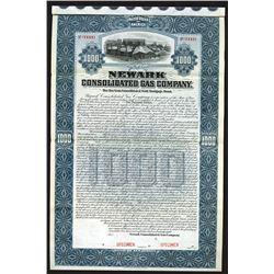Newark Consolidated Gas Co., 1898 Specimen Bond
