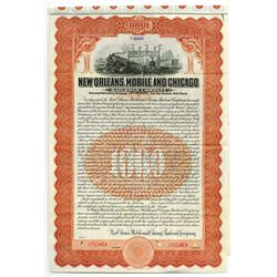 New Orleans, Mobile and Chicago Railroad Co., 1909 Specimen Bond