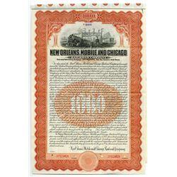 New Orleans, Mobile and Chicago Railroad Co., 1909 Specimen Bond