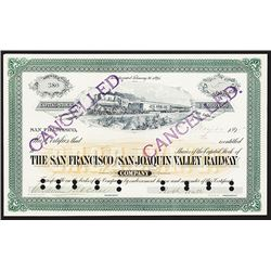 San Francisco and San Joaquin Valley Railway Co., 1895 Issued Stock Certificate.