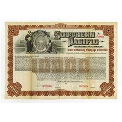 Southern Pacific Railroad Co. Specimen Registered Bond.
