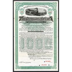 Leamington and St.Clair Railway Co. 1889 Specimen Bond.