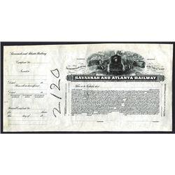 Savannah and Atlanta Railway., ND ca.1900-1920 Proof Stock Certificate.