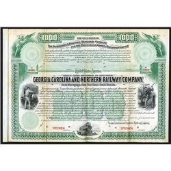 Georgia, Carolina and Northern Railway Co., 1889 Specimen Bond