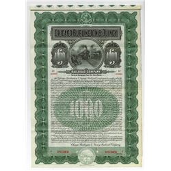 Chicago, Burlington & Quincy Railroad Co. 1908 Specimen Gold Coupon Bond.