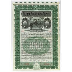 Chicago, Burlington & Quincy Railroad Co. 1908 Specimen Gold Coupon Bond.