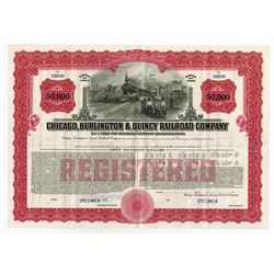 Chicago, Burlington & Quincy Railroad Co. 1945 Specimen Registered Bond.