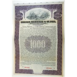 Chicago, Milwaukee and St. Paul Railway Co., 1912 Specimen Bond