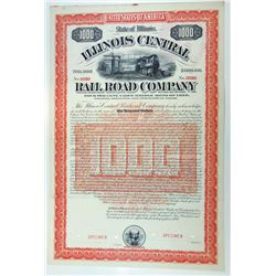 Illinois Central Rail Road Co., 1892 Specimen Bond.