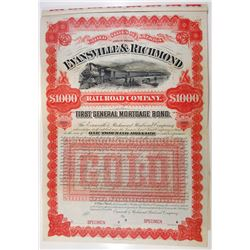 Evansville & Richmond Rail Road Co. 1891 Specimen Bond.
