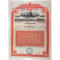 Indianapolis, Decatur and Western Railway Co. 1888 Specimen Bond.