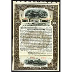 Iowa Central Railway Co. 1901 Specimen Bond.