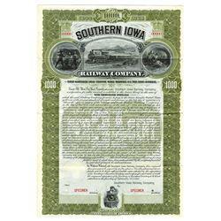 Southern Iowa Railway Co., 1900 Specimen Bond