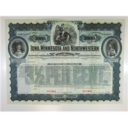 Iowa, Minnesota and Northwestern Railway Co., 1900 Specimen Bond.