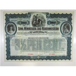 Iowa, Minnesota and Northwestern Railway Co., 1900 Specimen Bond.