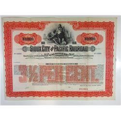 Sioux City and Pacific Railroad Co. 1900-1910 Specimen Bond.