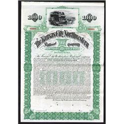 Kansas City Northwestern Railroad Co., 1894 Specimen Bond