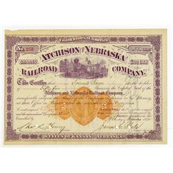 Atchison and Nebraska Railroad Co. 1872 Issued Stock Certificate with U.S. Imprinted Revenue.