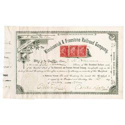 Kinniconick & Freestone Railroad Co., 1902 Cancelled Stock Certificate