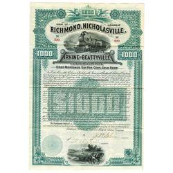 Richmond, Nicholasville, Irvine and Beattyville Railroad Co., 1889 Issued Bond.