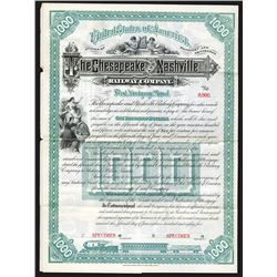 Chesapeake and Nashville Railway Co. 1885 Specimen Bond