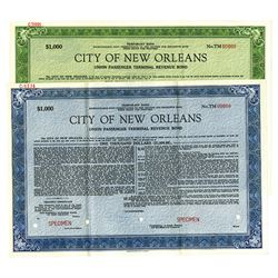 City of New Orleans, Temporary Union Passenger Terminal Revenue Specimen Bond Pair, ca.1948-1949.