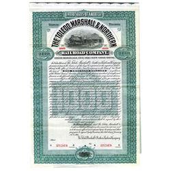 Toledo, Marshall & Northern Railroad Co., 1905 Specimen Bond