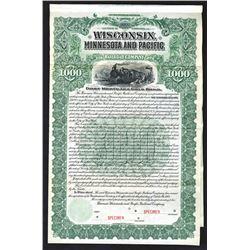 Wisconsin, Minnesota and Pacific Railroad Co., 1900 Specimen Bond