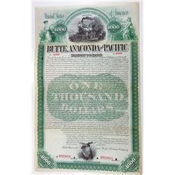 Butte, Anaconda and Pacific Railway Co. 1893 Specimen Bond.
