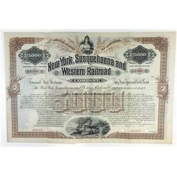 New York, Susquehanna and Western Railroad Co. 1893 Specimen Registered Bond.