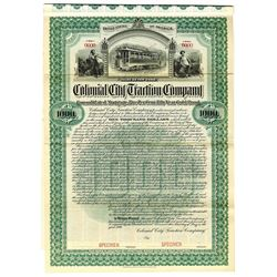 Colonial City Traction Co., 1899 Specimen Bond