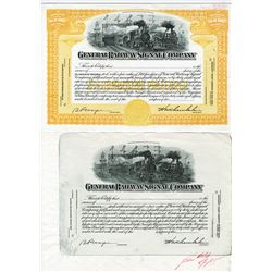 General Railway Signal Co. 1953 Proof Stock Certificate Pair.