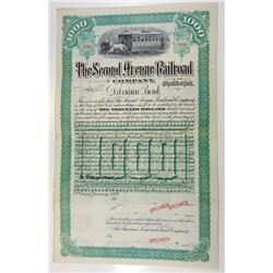 Second Avenue Railroad Company in the City of New York, 1889 Specimen Bond.