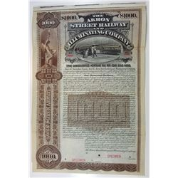 Akron Street Railway and Illuminating Co, 1896 Specimen Bond.