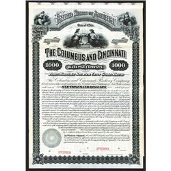 Columbus and Cincinnati Railway Co. 1881 Specimen Bond.
