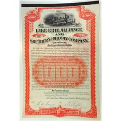 Lake Erie, Alliance and Southern Railway Co., 1887 Issued Bond.