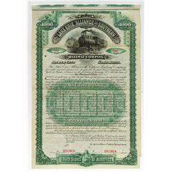 Lake Erie, Alliance and Southern Railway Co., 1887 Specimen Bond.