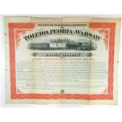 "Toledo, Peoria and Warsaw Railway Co., 1878 Specimen ""Receipt of Purchasing Committee"" Bond."