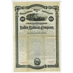 Valley Railway Co., 1879, Ohio Specimen  Bond Rarity.